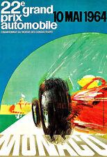 Grand Prix Monaco10 Mai 1964  Motos Automobile Car Race  Deco Auto  Poster Print