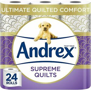 Andrex Supreme Quilts Roll Clean Tissue Paper 24 Rolls Tissues Fee UK P&P NEW