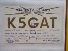OLD VINTAGE QSL HAM RADIO CARD. ATLANTA, TEXAS. 1959