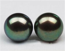 Charming Natural 10-11mm Black Tahitian Pearl Silver Stud Earrings AA