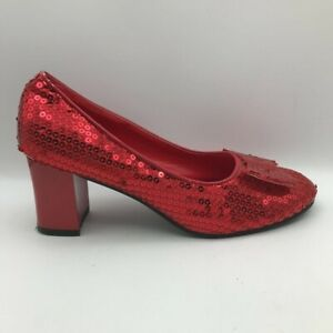 Wizard Of Oz Costume Rubie's Dorothys Ruby Slippers Red Womens size 9-10 Large