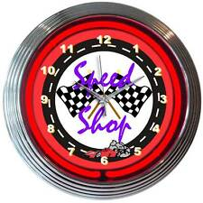 Speed Shop Neon Clock sign garage shop light Hot Rod checkered racing flags Nib