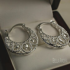 925 Silver Filigree Creole Hoop Drop Earrings - 25mm New UK -151