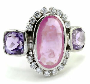 925 Sterling Silver Natural Amethyst & Ruby Sapphire+ AD Fine Ring Size=US-7.50