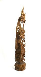 Thai temple top woodcarving sculpture, teak wood. 72.5cm high. Buddhist statue.
