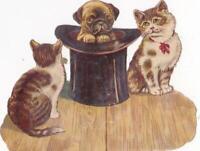 """Victorian Die Cut Scrap Two Kittens Watch Pug Puppy in Top Hat 3.75 x 3"""""""
