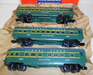 LIONEL 2400, 2401, 2402 GREEN MAPLEWOOD, HILLSIDE AND CHATMAN 3 CAR SET REMAKE