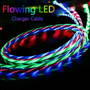 LED Light Up Type-C Fast Charging Flowing Glowing USB  Phone Charger Cable Cord