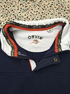 ORVIS - Navy - Cotton Blend - Long Sleeve - Zip Neck - SweatShirt - L