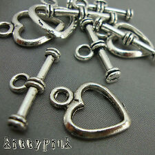 5 Silver Plated Heart Toggle Clasps Findings A12