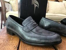 HARRYS of LONDON Gray Blue Leather Loafers 10 Italy Slip on Shoe 43 UK $554 NWOB