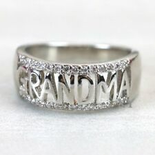 Grandma Ring Grandmother Gift 18K White Gold Plated  Size 8