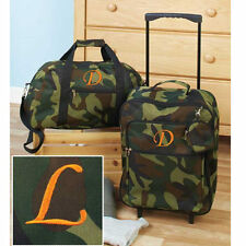 Luggage for Kids Boys Sets Small Rolling Suitcase Duffel Bag Camo Letter L 3 Pc