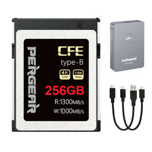 PERGEAR CFE type-B Memory Card 256GB 1300MB/s 4K 120fps Raw video+Card Reader