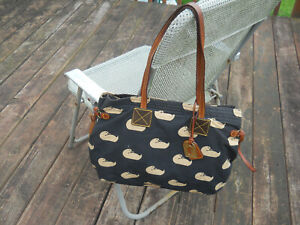 DOONEY & BOURKE Duck Pattern Canvas Large Handbag/Tote with Pendant