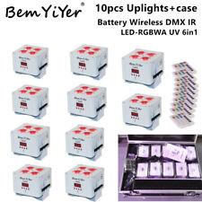 10pcs LED par stage uplights w/case 4x18W RGBWA+UV 6in1Battery wireless DMX IR