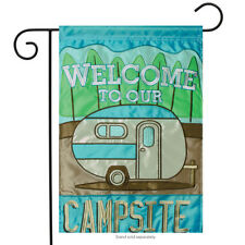 "Welcome to our Campsite Applique Garden Flag Camping Adventure Tent  13"" x 18"""