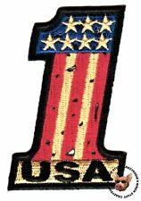 VINTAGE LOOKING USA NUMBER ONE BIKER PATCH  FREE USA SHIPPING  STARS & STRIPES
