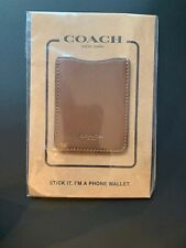 🌺 COACH LEATHER POCKET STICKER CELL PHONE WALLET/CARD CASE DARK SADDLE F24051
