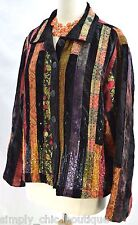 Coldwater Creek CWC shabby blazer patchwork jacket art velvet tapestry coat P XL
