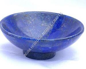"12"" Blue Random Marble Fruit Bowl Lapis Lazuli Inlay Arts Kitchen Decor H4983"