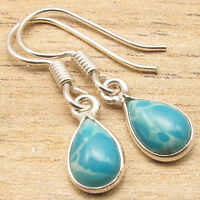 Simulated LARIMAR Drop Gems Little Earrings Blue ! 925 Silver Plated Jewelry