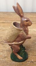 Standing Bunny Rabbit Resin Molded Wood Hopping Wicker Basket Easter Hiker ?
