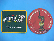 2 Beer Pub Coasters ~ WORTHINGTON Cup ~ Cream Flow ~ Burton-upon-Trent, England