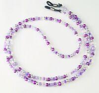 Handmade Beaded Eyeglass Chain Holder Leash~Purple & Silver~Multi