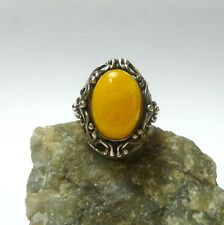 58 (18,4 Mm Ø ) 925 Hecho a Mano Anillo Plata Butterscotch Ámbar Baltic Antigua