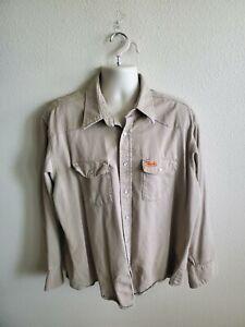 Wrangler Fr Flame Resistant Long Sleeve Pearl Snap Work Shirt 2XL Reg