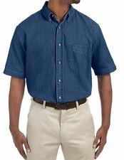Harriton Men's Short-Sleeve Button up 100% Cotton Denim Shirt S-4XL