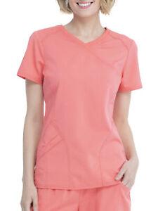 Scrubstar Women's Premium Mock Wrap Scrub Top Coral S/CH (R-L)