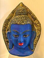 Sakyamuni Buddha Wall Hanging Decor Gold Blue Paper Mâché Mask Wall Decor