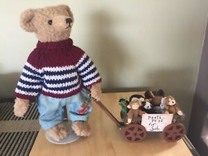 TEDDY BEAR Steiff style bear with a cart full of pets. UNIQUE CUSTOM MADE ONE OF