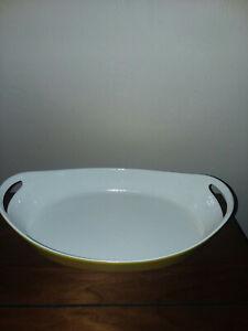 "Vintage Copco Denmark Michael Lax Design ~Yellow Enamel Cast Iron 13"" Oval Dish"