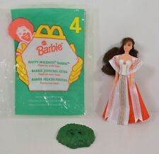 """1996 Christmas Holiday Barbie 4.25"""" McDonald's Happy Meal Action Figure Doll #4"""