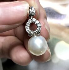 12mm South Sea Pearl Diamonds 18K solid white gold necklace pendant gift Natural