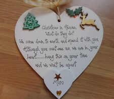 Christmas in Heaven Personalised Tree Decoration in memory loved one plaque