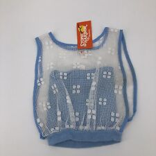 vintage 80's overlay sheer Blue  tank top tube top camisole cover
