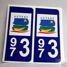 10 STICKERS AUTOCOLLANT PLAQUE D IMMATRICULATION de la Guyane (973)