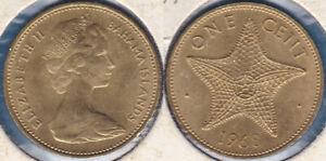 Bahamas 1968 1 Cent Starfish Elizabeth II KM-2 Nickel brass aUNC - US Seller