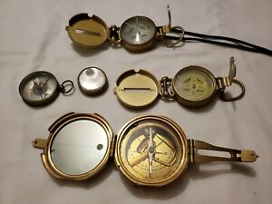 Vintage Lot of 5 Brass Compasses  India, 2 Lensatic, France, Unknown