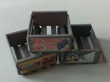 Dollhouse Miniatures 1:12 scale handcrafted aged wood crates w/vintage  labels