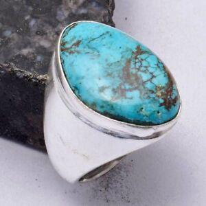 Turquoise Ethnic Handmade Men's Ring Jewelry US Size-8.5 AR 41695