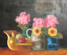 Vintage European oil painting still life with fruits and flowers