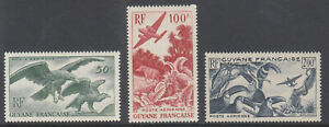 French Guiana Sc C18-C20 MLH. 1947 Birds & Airplanes, complete set, fresh, VLH