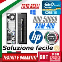 PC DESKTOP FISSO COMPUTER HP PRODESK 400 G1 SFF CPU I5 4gen 4GB RAM HDD 500GB