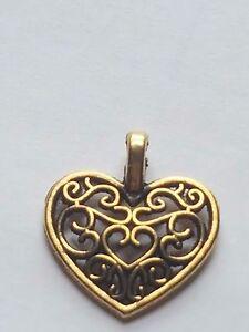 20 X TIBETAN GOLD PLATED FILIGREE HEART CHARM PENDANTS