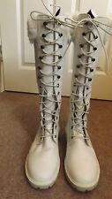 RARE Timberland UK 8 WOMEN'S Bianco Impermeabile Pelliccia dall'alto al ginocchio Stivali in Pelle